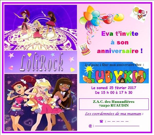 Invitation anniversaire Eva 2017 - 7 ans sans coordonnées